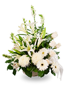 Basket arrangement of mixed white flowers